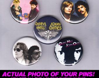 "Hall & Oates - 1.5"" Pins / Buttons (vintage poster print lp art pop rnb rock)"