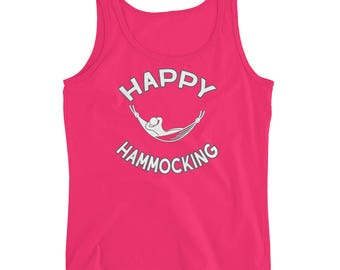 Hammocking Shirt - Funny Camping Shirt - Hammock Gear Trekking Hiking Backpacking Festival - Happy Hammocking - Ladies' Tank Top