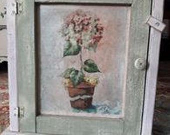 Small Cabinet - Shabby Chic Cottage Style Painting