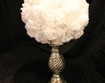 11 Inch White Pomander Ball with Rustic Silver Stand