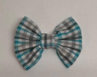 Blue and grey checkered dog bow tie