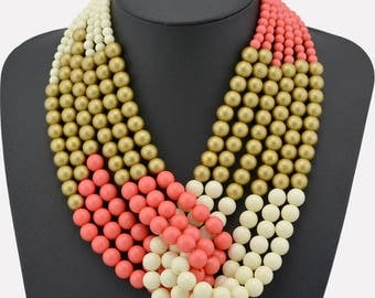Pink/Gold/Cream Twisted Strands Necklace