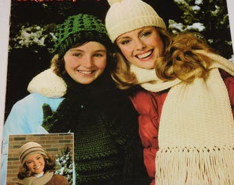 Vintage Knit/Knitting and Crochet/Crocheting Patterns for Scarves, Hats, Gloves, and Booties