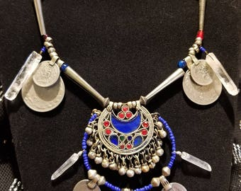 Tribal Belly Dance crescent Kuchi pendant necklace with coins and crystals