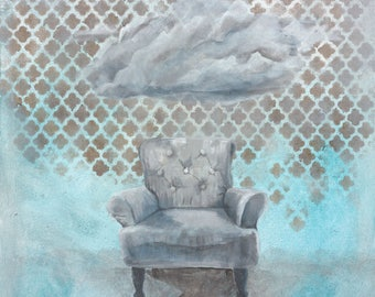 Art print - teal chair - vintage occaissional chair with cloud