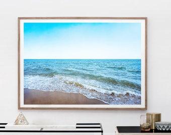 Ocean Wave Print - Blue Sea Wall Art, Digital Print, Coastal Print, Beach Decor, Sea Printable, California Photo, Scandinavian Wall Art