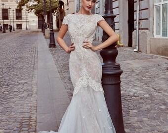mermaid wedding gown etsy