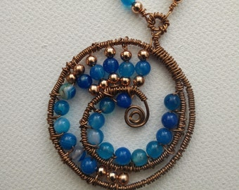 Spiraling In Natural Blue Agate Solid Copper Necklace