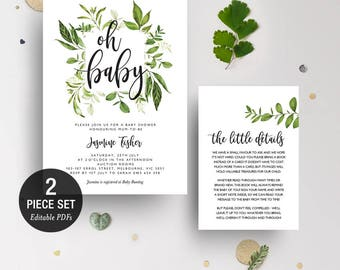 INSTANT DOWNLOAD Greenery Leaves Oh Baby Shower Invitation Printable Template - BONUS Detail Card
