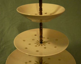 Mid Century Modern 22K Gold Three-tiered Dessert Tray
