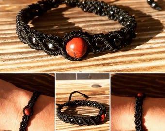 Black macrame bracelet with red jade
