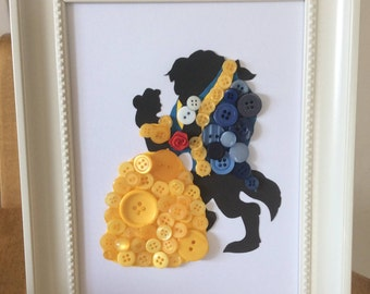 Beauty and the Beast button art with rose
