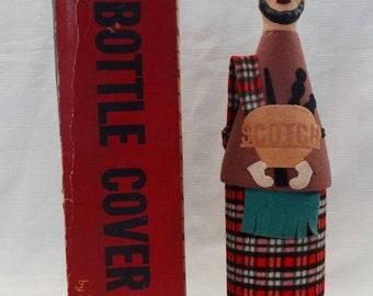 1960's Figural Scotch Liquor Bottle Cover/Scotsman/Felt Kilt/Rubber Head/Shields 5th Ave