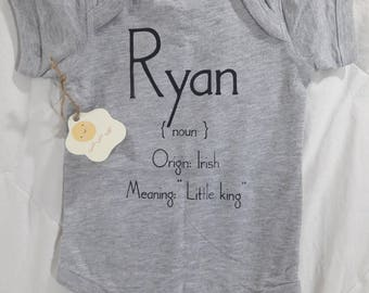 What's In a Name?  Infant Custom Personalized Name Definition Short Sleeve Bodysuit