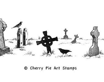 CELTIC GRAVEYARD / cemetery - CLiNG RuBBer STaMP by Cherry Pie S578
