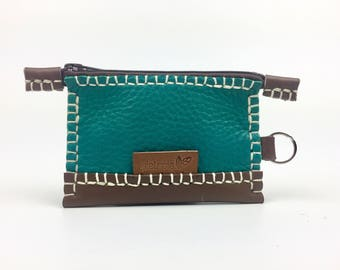 Green leather purse, Small green purse, Handy leather purse, Different purse, Juvenil purse, Woman purse, Green leather wallet