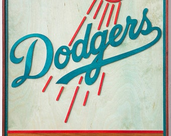 Handcrafted Man Cave Art - LA Dodgers