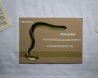 Handmade Blank Greeting Card (Folded A6) - American Eel - Golden Guide to FISHES