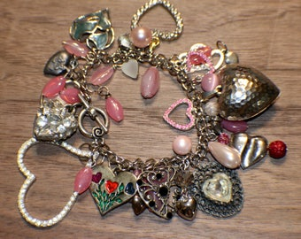 Heart Charm Bracelet - Stainless Steel - Mega Charm Collection - Recycled - Valentine's Day - Silver-tone - Upcycled