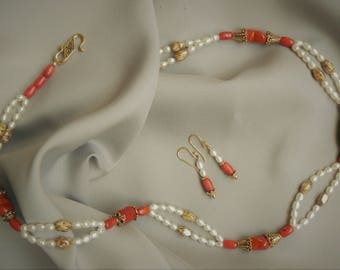 Fresh water pearl with coral and gold accent necklace and earrings