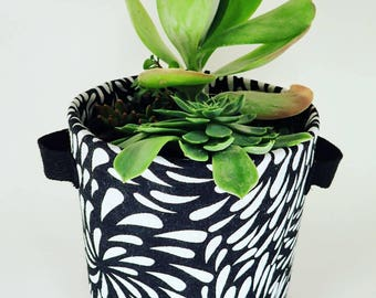 Black with White Droplets Print Fabric Plant Pot | Textile Geofabric Planter | Beautiful Gift for Gardeners | Large Size