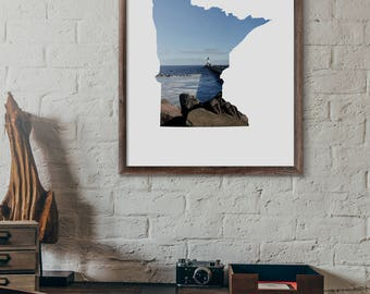 Minnesota Art Print - MN Photography - Minnesota Printable Art - Lighthouse in Duluth - Digital Download: JPG