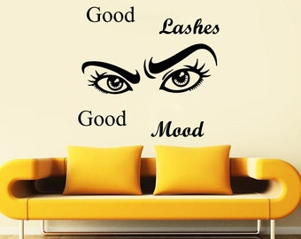 Wall Decal Window Sticker Beauty Salon Woman Face Eyelashes Lashes Eyebrows Brows t647