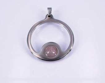 Pendant large with rose quartz cabochon stainless steel elegant festive hand work