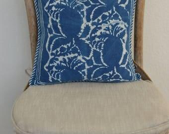 14X14 Indigo Batik Print Pillow Cover