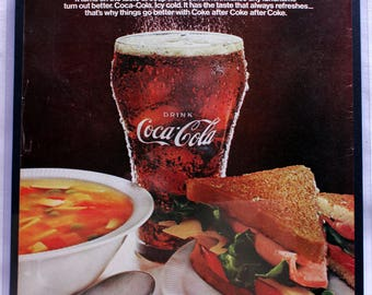 1967 Coca Cola, Coke advertisement. Vintage, original Life Magazine ad 14x11.5, framed, matted and wall hanger ready for display