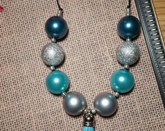 Turquoise Tassel Bubblegum Necklace