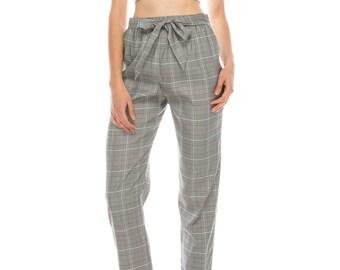 Tie Front High Waist Plaid Pants