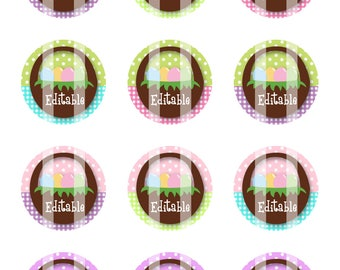 Editable Easter Basket 1 inch Circles 4x6 Digital Collage Sheet