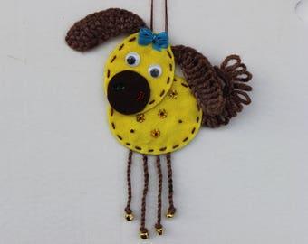 dogs yellow pendant, handmade dog, souvenir dog, pendant dog, wool dog, Chinese horoscope dog, toy dog, yellow dog,interior decoration dog