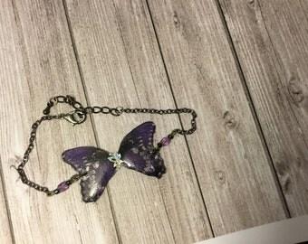 Shiny wings - glittery Purple Butterfly bracelet collection