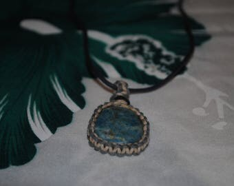 chrysocolla macrame necklace