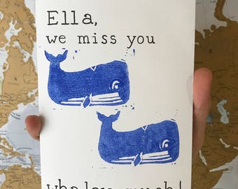 HANDMADE Linoprint Personalised 'Miss You Whaley Much' Card 7x5