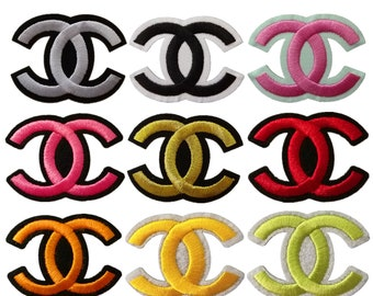 iron on embroidery patches,embroidered emblem badges,appliques,gold CC patches,pink CC patches,small CC patches,Chanel patches,hats patch