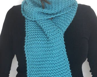 Knitted Scarf / Turquoise Scarf / Wool Scarf / Bufanda larga / Super Long Scarf / Woman gift / Girl gift / Blue scarf / Long Winter Scarf