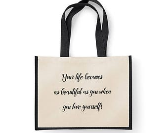 Jute Cotton Canvas Shopping Bag with inspiring quote (Life)