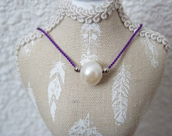 Choker of neck silk and Pearl freshwater pearls