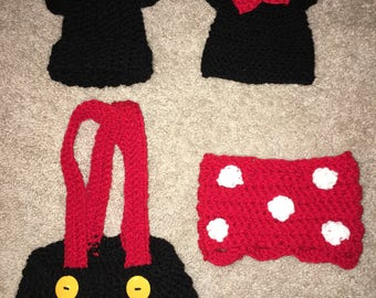 Mickey or Minnie diaper cover with hat