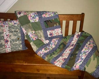 Personalized, Repurposed, Military Quilt & Pillow