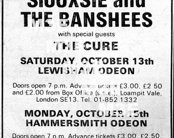 Siouxsie & The Banshees w/ The Cure '79 Melody Maker Concert Ad Reprint London Digital Download