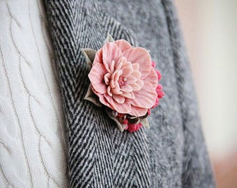 flower brooch, brooch made from polymer clay, pink flowers, flowers from polymer clay brooch with pink flowers,  pink chrysanthemums