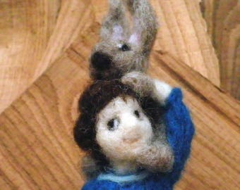 Child And Pet/Needle Felted Pet And Child/NeedleFelted Rabbit/Soft Sculpture/Gift/Wool/OOAK/Natural Fiber/Collectible