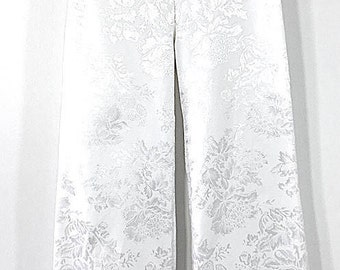 White Floral Brocade Wide Leg Pant