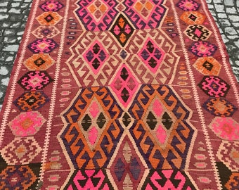 Turkish Vintage Area Rug 10.7 x 5.2 feet 330x160 cm Turkey Kars kilim rug,kilim turkish, old kilim, home kilim for kilim