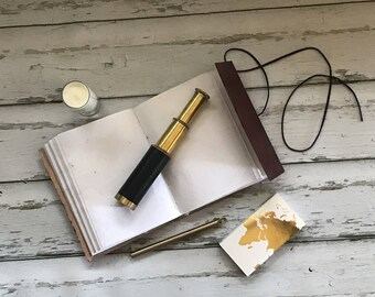 Explorer's Kit: Gift Box with Old World Leather Wrap Journal, Brass Pen and Telescope; Gift Wrapped with Handwritten Note