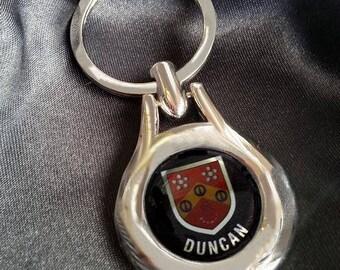 DUNCAN Chrome Key Ring Fob Keyring Scottish Irish Clan Gift Idea